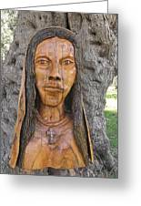 Our Lady Olive Wood Sculpture Greeting Card by Eric Kempson