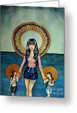 Out She Steps Greeting Card by Lucy Stephens