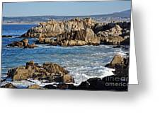 Outcroppings At Monterey Bay Greeting Card by Susan Wiedmann