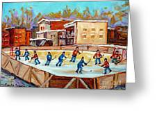 Outdoor Hockey Fun Rink Hockey Game In The City Montreal Memories Paintings Carole Spandau Greeting Card by Carole Spandau