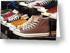 Outdoor Vendor Sells Canvas Shoes Greeting Card by Yali Shi