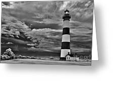 outer Banks - Stormy Day at Bodie Lighthouse BW Greeting Card by Dan Carmichael