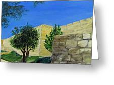Outside The Wall - Jerusalem Greeting Card by Linda Feinberg