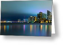 Overcast Miami Night Skyline Greeting Card by Andres Leon