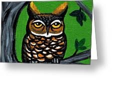 Owl In Tree With Green Background Greeting Card by Genevieve Esson