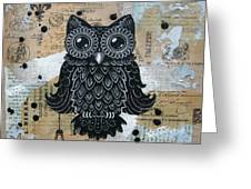 Owl On Burlap1 Greeting Card by Kyle Wood