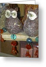 Owls Greeting Card by Barbara Yodice