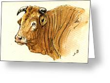 Ox Head Painting Study Greeting Card by Juan  Bosco