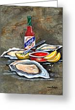 Oysters On The Half Shell Greeting Card by Elaine Hodges