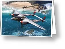 P-38 Lightning Battle Axe Greeting Card by Mark Karvon