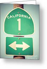 Pacific Coast Highway Sign California State Route 1 Greeting Card by Paul Velgos