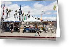 Pacific Coast Kites And Paradise Dogs On The Municipal Wharf At The Santa Cruz Beach Boardwalk Calif Greeting Card by Wingsdomain Art and Photography