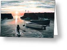 Paddling Greeting Card by Eileen Patten Oliver