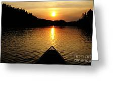 Paddling Off Into The Sunset Greeting Card by Larry Ricker