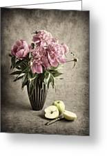 Paeony And Apples Greeting Card by Jitka Unverdorben