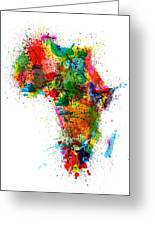 Paint Splashes Map Of Africa Map Greeting Card by Michael Tompsett
