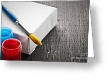 Paintbrush On Canvas Greeting Card by Elena Elisseeva