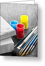 Paintbrushes With Canvas Greeting Card by Elena Elisseeva