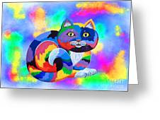 Painted Cat Greeting Card by Nick Gustafson