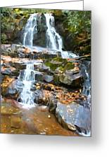 Painted Falls In The Smokies Greeting Card by Dan Sproul