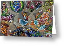 Painted Indian Bodhi Leaves Greeting Card by Tim Gainey