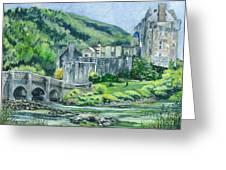 Painting Eilean Donan Medieval Castle Scotland Greeting Card by Carol Wisniewski