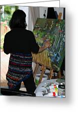 Painting My Backyard 1 Greeting Card by Becky Kim