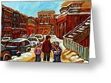 Paintings Of Baron Byng High School St Urbain A Winter Walk Down Memory Lane Montreal Art Carole  Greeting Card by Carole Spandau