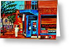 Paintings Of Montreal Memories Moe Wilenskys Famous Corner Deli  Montreal Spring City Scene Greeting Card by Carole Spandau