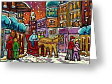 Paintings Of Old Quebec Magical Vieux Port Montreal City Scenes Caleche In Winter Carole Spandau Greeting Card by Carole Spandau