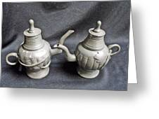 Pair Of Decorated Pewter Teapots Greeting Card by Anonymous