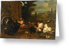 Palace Garden Exotic Birds And Farmyard Fowl Greeting Card by Melchior de Hondecoeter
