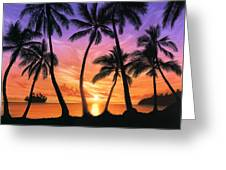 Palm Beach Sundown Greeting Card by Andrew Farley