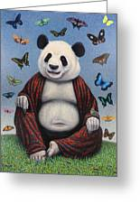 Panda Buddha Greeting Card by James W Johnson