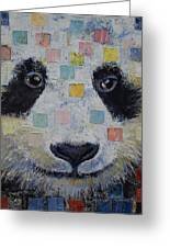 Panda Checkers Greeting Card by Michael Creese