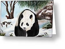 Panda On Ice Greeting Card by Patricia Novack