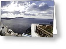 Panorama Greece Santorini 07 Greeting Card by Sentio Photography