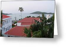 Panorama Of Charlotte Amalie Bay Greeting Card by Russell Windle