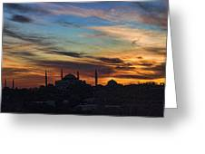 Panorama Of Istanbul Sunset- Call To Prayer Greeting Card by David Smith