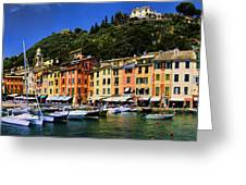Panorama Of Portofino Harbour Italian Riviera Greeting Card by David Smith