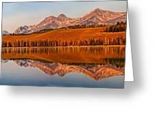 Panoramic Of Little Redfish Lake Greeting Card by Robert Bales