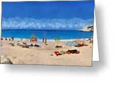 Panoramic Painting Of Porto Katsiki Beach Greeting Card by George Atsametakis