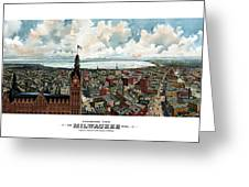 Panoramic View Of Milwaukee Wisconsin Greeting Card by War Is Hell Store