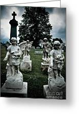 Parade Of Angels Statues At Cemetery Greeting Card by Amy Cicconi