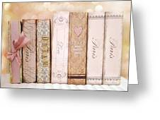 Paris Dreamy Shabby Chic Romantic Pink Cottage Books Love Dreams Paris Collection Pastel Books Greeting Card by Kathy Fornal