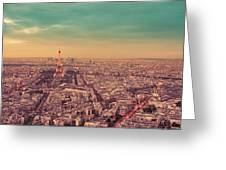 Paris - Eiffel Tower And Cityscape At Sunset Greeting Card by Vivienne Gucwa