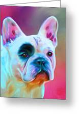 Vibrant French Bull Dog Portrait Greeting Card by Michelle Wrighton