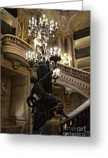Paris Opera House Grand Staircase And Chandeliers - Paris Opera Garnier Statues And Architecture  Greeting Card by Kathy Fornal