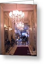 Paris Pink Hotel Lobby Interiors Pink Posh Hotel Interior Arch And Chandelier Hallway Greeting Card by Kathy Fornal