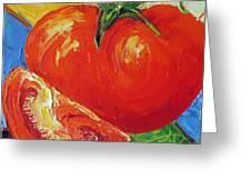 Paris' Red Tomato Greeting Card by Paris Wyatt Llanso